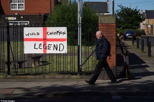 A sign in honour of Jack Charlton is displayed on a fence in Ashington in Northumberland this morning ahead of the funeral