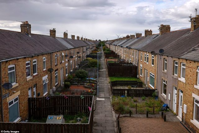 The road in Ashington, where footballing legends Bobby and Jack Charlton grew up,is pictured yesterday
