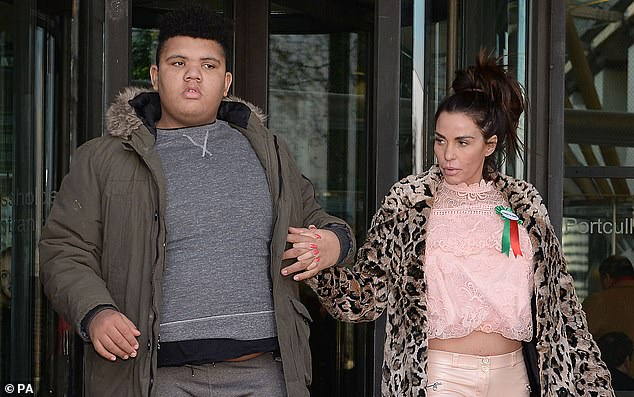 Katie Price is pictured with her son Harvey, 18, in February 18. of The 42-year-old said she was going to visit him in hospital after today's court hearing, adding: 'It's one thing after the other'