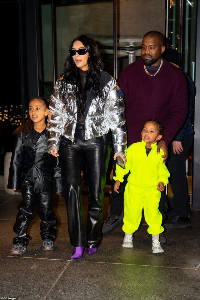 North West, Kardashian, West and Saint (L to R) are pictured together in New York City in 2019