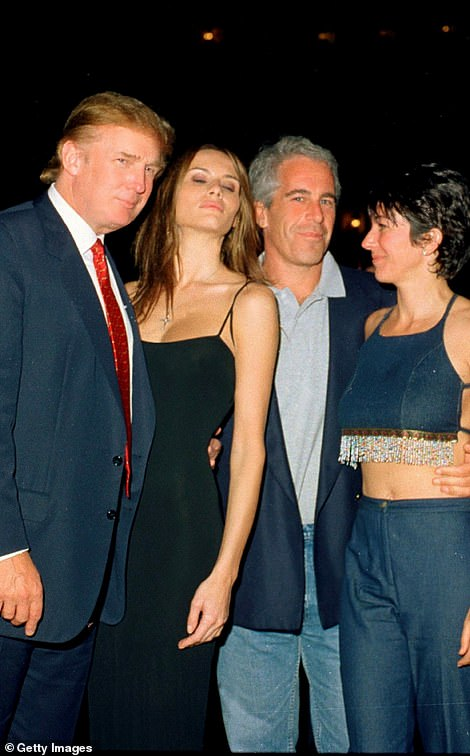 Donald Trump has sent a message of support to Ghislaine Maxwell as she awaits her trial for sex trafficking minors. Pictured the president, with First Lady Melania Trump, Epstein and Maxwell at Mar-a-Lago in 2000