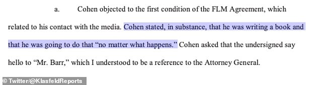 """Adam Pakula, the probation officer assigned to his case, said in a supporting document that Cohen told him 'he was writing a book """"no matter what happens""""'"""
