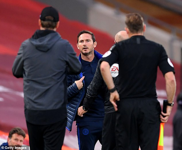 Lampard saw red after a soft foul was given and told his counterpart Jurgen Klopp to 'f*** off'