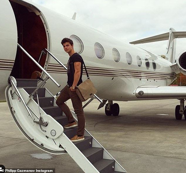 Other members of the Brit-Russian set include Philipp Gazmanov , 23, the son of Russian pop star Oleg Gazmanov (pictured, boarding a private jet)