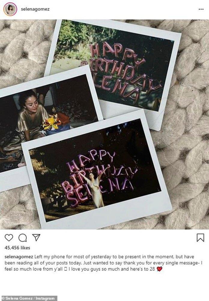 'Siento mucho amor de parte de ustedes': Selena Gomez aparentemente disfrutó de un simple cumpleaños número 28 en casa mientras compartía algunas fotos instantáneas de la celebración en su Instagram el jueves