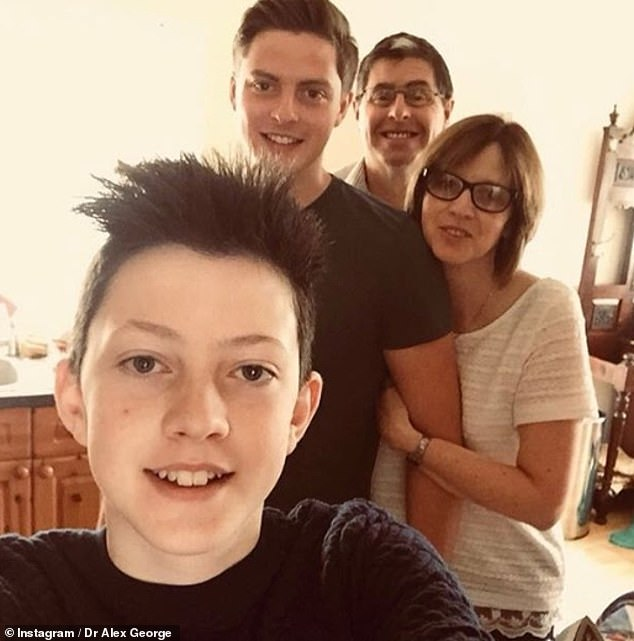 Tragic:Llŷr had been accepted to medical school and was due to follow in his big brother's footsteps next month (pictured with Alex and their parents Jane and Anthony in 2018)