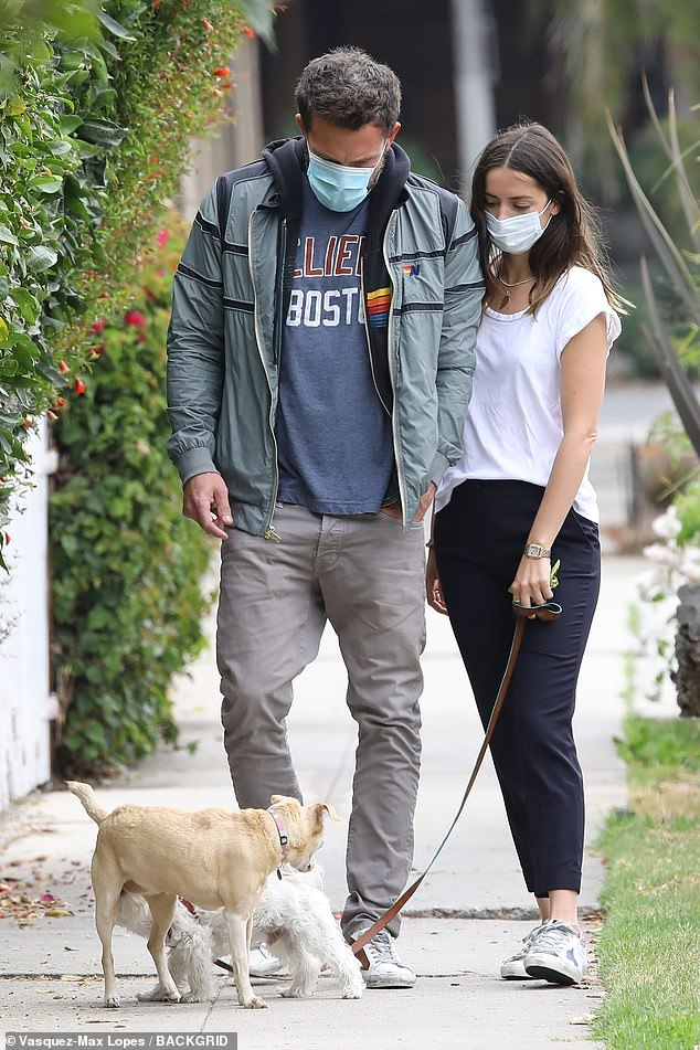 Safety first:Of course, both Ben and Ana had on their protective face masks as mandated by the Governor of California and the Mayor of Los Angeles