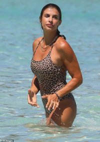 George Clooney's ex Elisabetta Canalis, 41, flaunts her toned body in a leopard swimsuit in Italy