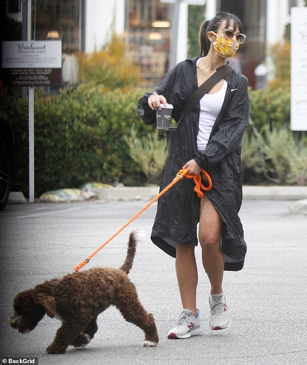 Jordana Brewster dons a patterned face mask as she heads out on coffee run with beloved pupEndicott