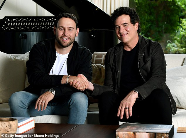 Feud rages on:In her song Mad Woman, Swift appears to make reference to her ongoing feud with former label boss Scott Borchetta and Justin Bieber's manager Scooter Braun; Scooter and Scott pictured in 2019