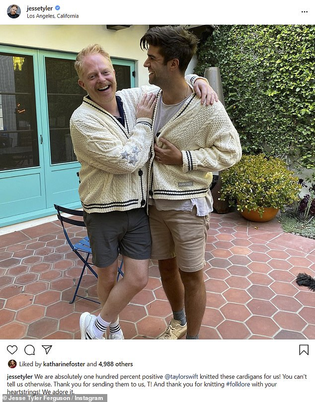 Totally psyched:Modern Family star Jesse Tyler Ferguson and his husband Justin Mikita showed off the cardigans - replicas of the one Taylor wore in her music video for her album's lead single Cardigan - that were sent to them by Swift