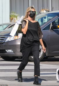Heidi Klum and daughter Leni wear matching black ensembles with face masks as they go out shopping
