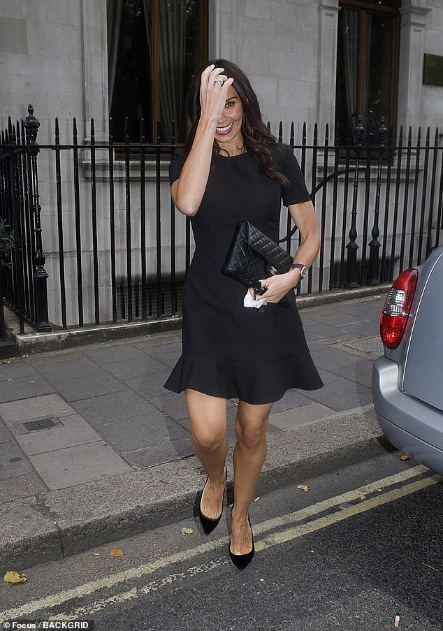 Christine Lampard looks glamorous in a black minidress on date night with Frank