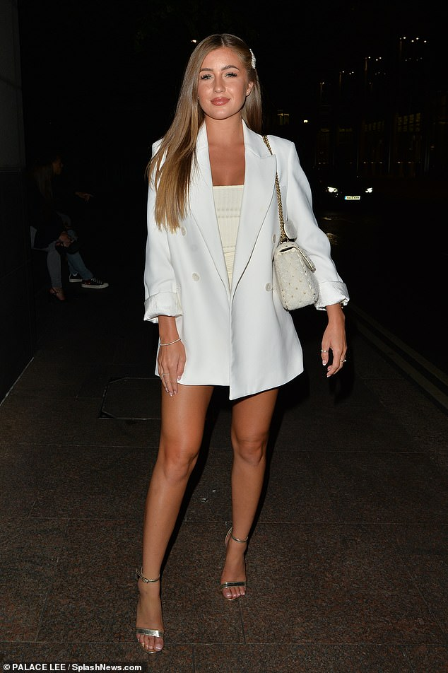 Leggy look:Georgia Steel was keen to showcase her holiday tan as she put on a leggy display while arriving at London's Roka restaurant on Friday alongside TOWIE's Chloe Brockett