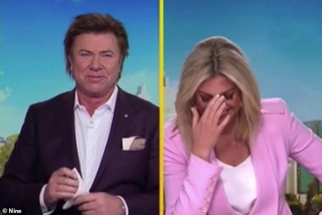 Upset: 'Oh god,' she said, as her co-host Richard Wilkins (left) handed her a tissue. In the footage, a three-year-old girl was reunited with her mum and dad after being separated for six months in different countries due to COVID-19 border closures