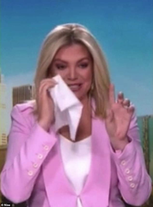 'That's the third time I've seen it and I still cry': Weekend Today host Rebecca Maddern (pictured) was brought to tears on air while watching an emotional video on Saturday