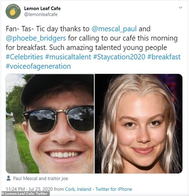 Cosy breakfast: The Lemon Leaf Cafe tweeted about to thank the pair for eating at their establishment, with the move sending fans wild at the possibility of the duo dating