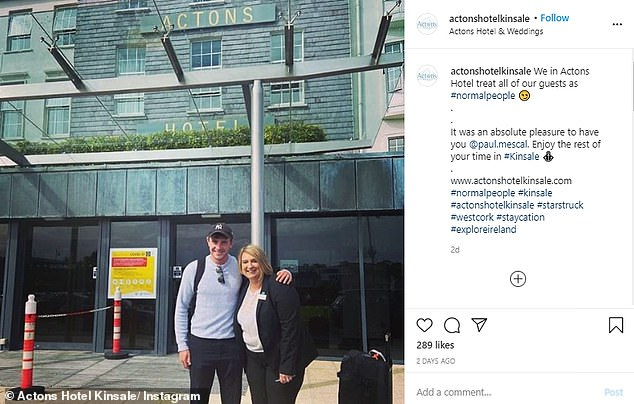 Look who's in town: Paul flew into Ireland earlier this week and had been staying in the local hotel, with the front office manager excitedly tweeting a picture of the two of them