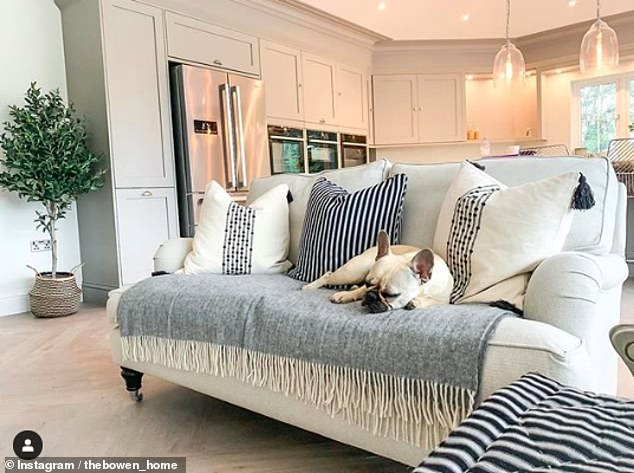 Snuggled up: Olivia's dog Winnie had clearly taken a liking to a chic white sofa, covered with a grey blanket and three large cushions