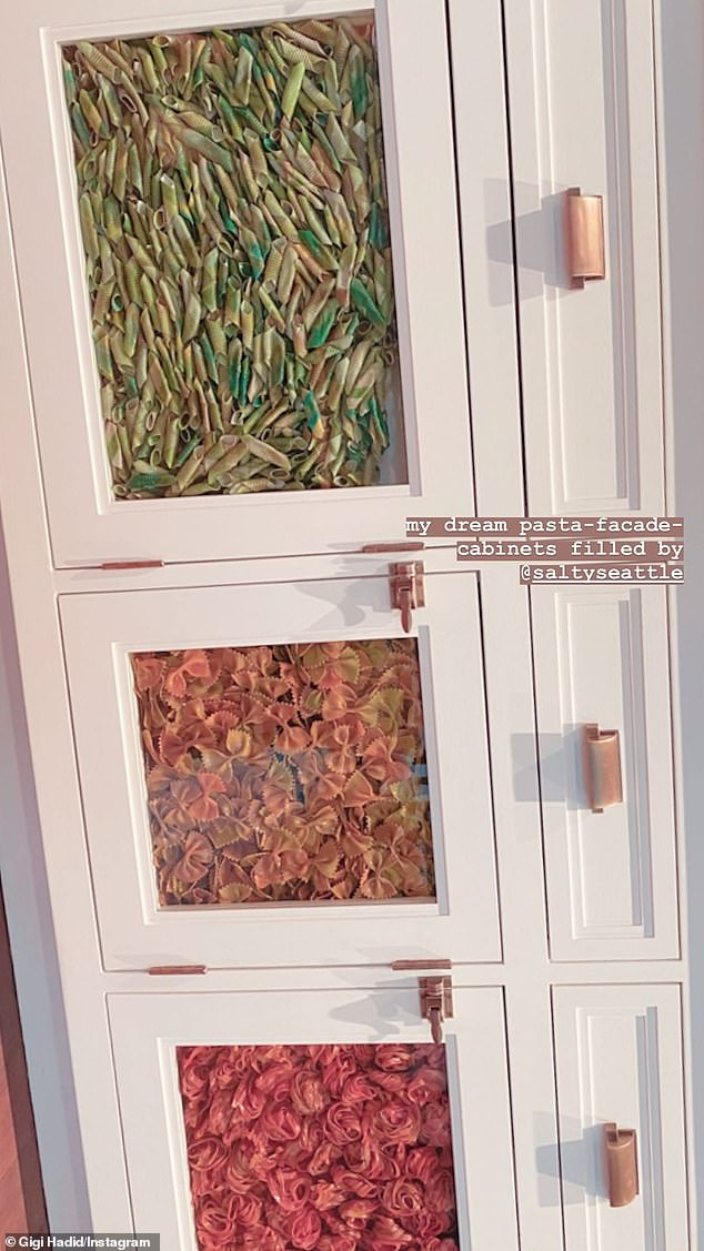 Not edible! She included a closer look at her 'dream pasta-facade-cabinets'