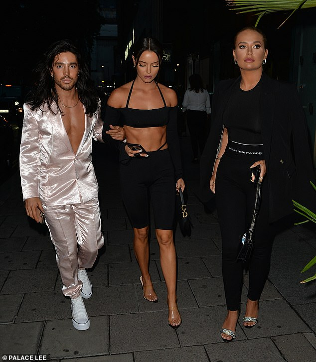 Celebrations:Maura was seen leaving the rainforest-themed Amazonico restaurant with Molly-Mae and linked arms with celebrity hair stylist Jay Birmingham to celebrate his birthday