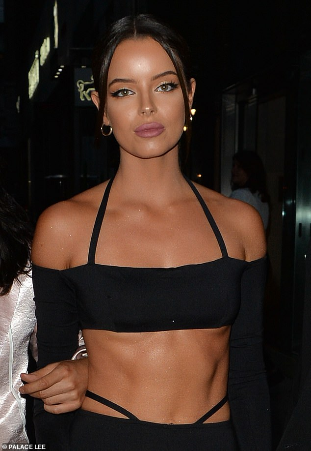 Flawless: Maura Higgins, 29, flaunted her incredibly toned abs leaving a restaurant with Love Island co-star Molly-Mae Hague, 21, in Mayfair, London, on Saturday