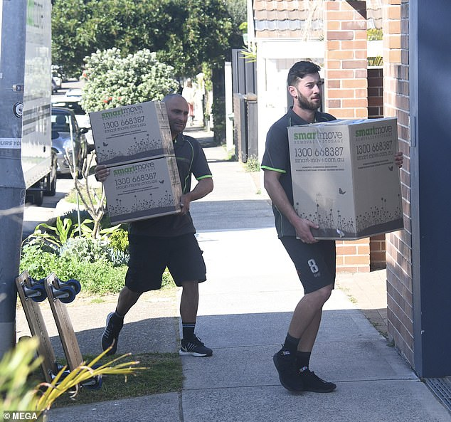On the move: Removalists were spotted moving the former Home and Away star's furniture and appliances into her new Bondi pad