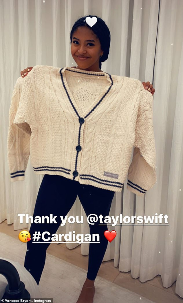 Special delivery: Taylor Swifthad a replica of the cardigan she wore in the music video for her lead single Cardigan specially delivered to Kobe Bryant's 17-year-old daughter Natalia on Friday