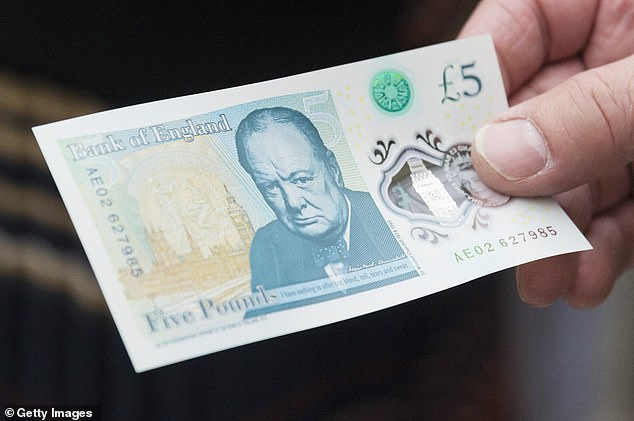 Currently on Britain's new polymer bank notes, Second World War Prime Minister Winston Churchill features on the £5 note (pictured), novelist Jane Austen was chosen to appear on the plastic £10 note after a campaign and artist JMW Turner features on the £20 notes