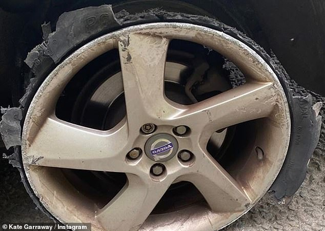 Disintegrated: The GMB host unveiled the alarming damage to the wheel, which had been left in tatters
