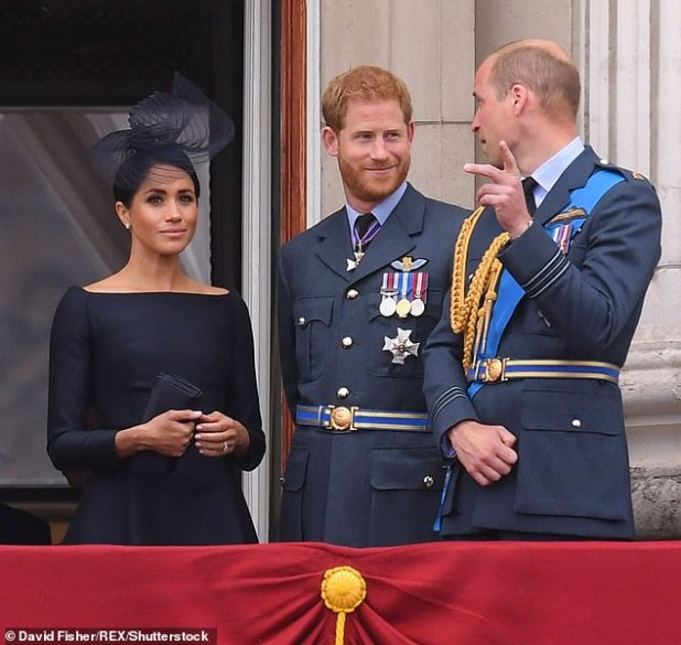 It has been reported that some royal allies may 'portray Prince William as a bad guy' and create a fresh rift within the royal family, as well as possible consequences for the future emperor. It is possible.  Picture: Megh, Prince Harry and Prince William, on the balcony of Buckingham Palace on the 100th anniversary of RAF, 2018