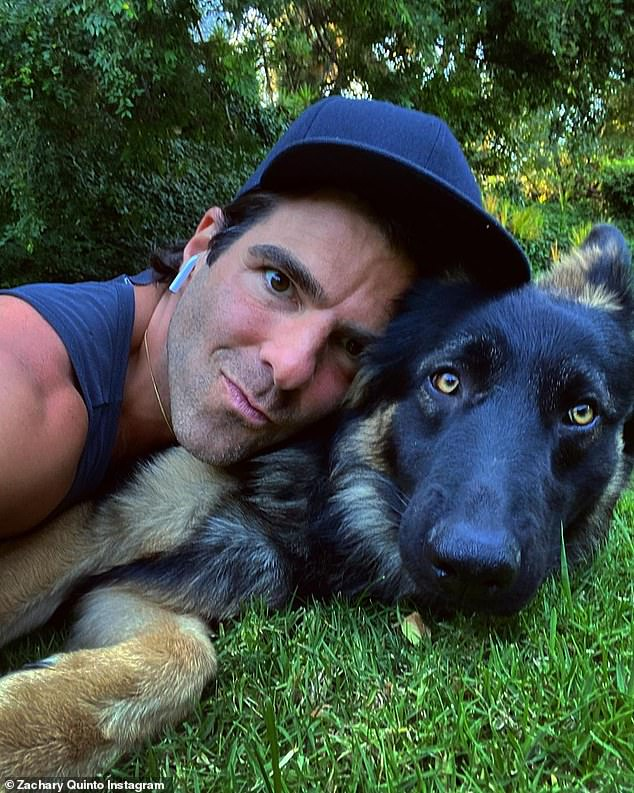 Four-legged family member: Quinto frequently shares photos of his beloved pet pooch