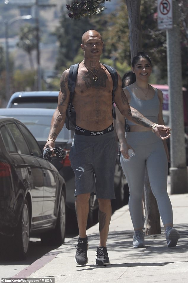 Jeremy Meeks goes on a shirtless hiking trip in Los Angeles with a stunning female companion