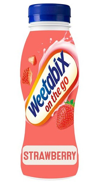 Weetabix On the GO Strawberry is a breakfast drink made with skimmed milk, wheat fibre and added vitamins and iron