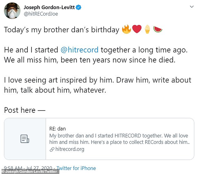 Honoring his brother:Joseph Gordon-Levitt took to Twitter on Monday to pay tribute to his late brother Dan on what would have been his 46th birthday