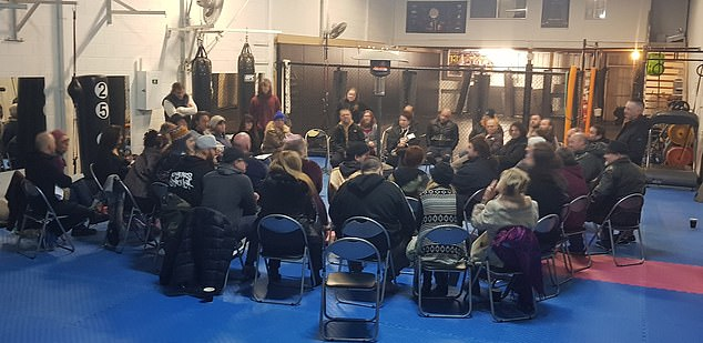 The roadblock was set up near Combat Athlete gym in Cranbourne, where a meeting of at least 50 covid-19 deniers was held a week earlier (pictured)
