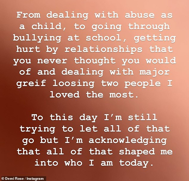 Upsetting:The model added a collection of written statements on her Instagram Story where she emotionally revealed that she was abused as a child, bullied at school and hurt in relationships
