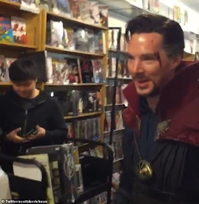 Surprise! In the video, Benedict headed into the shop and chatted with some of the staff, and asked for a job if Doctor Strange flopped at the box office
