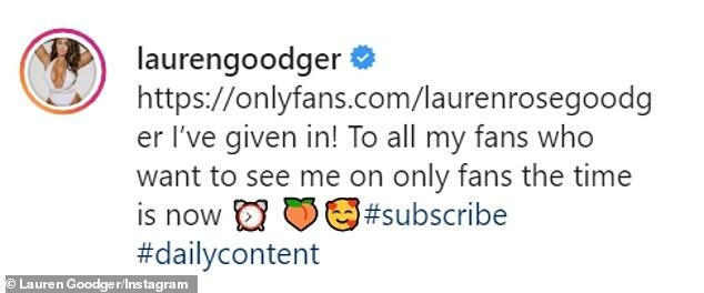 New business: Lauren Goodger revealed that she has now opened an account on the X-rated subscription service OnlyFans, two years after she launched the idea of signing up