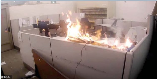 Schinzing allegedlyspread a fire that started near the front of the office by lighting additional papers on fire and moving them into a drawer of a separate cubicle