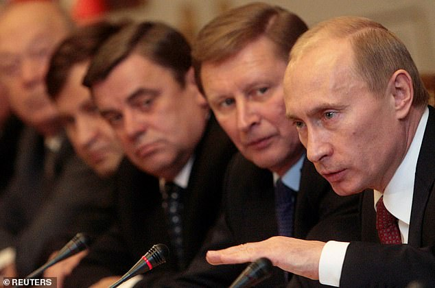 Putin pictured during a board meeting of the Chamber of Commerce and Industry in December 2007.