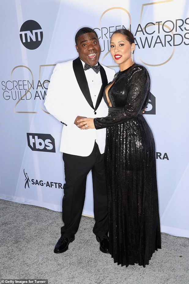 It is over: 30 Rock Star Tracy Morgan and his wife Megan Volvover SPLIT almost five years after marriage (photo taken together in January last year)