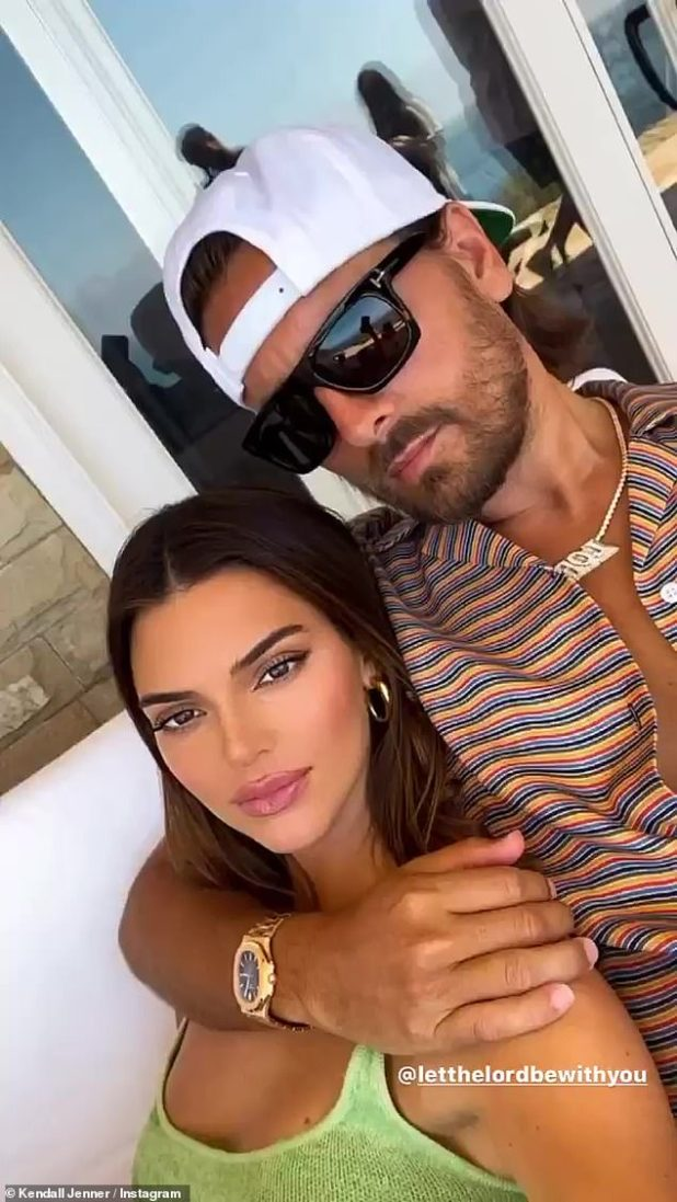 Family First: When she's not hanging out with her friends, Kendall is having lots of family time with sister Courtney Kardashian, Courtney's ex-Scott Disick, and their three children;  Kendall posed for Instagram on Sunday with Scott Disick