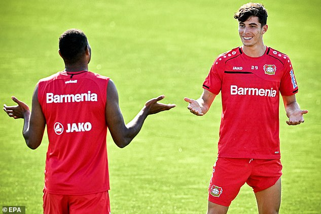 Havertz (right) has been training with his team-mates ahead of their tie against Rangers