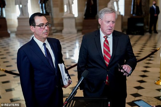 Treasury Secretary Steven Mnuchin (left) and White House Chief of Staff Mark Meadows (right) have spent the last week in Capitol Hill meeting with Republicans and Democrats seeking a compromise