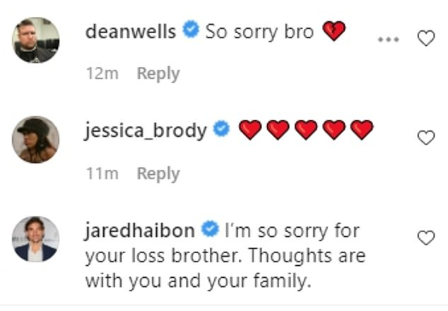 'I'm so sorry for your loss, brother': Several other reality stars, including Jake's Bachelor in Paradise season one co-star Jared Haibon, shared words of support