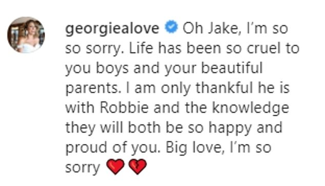 'Life has been so cruel': Georgia Love, who dated Jake on The Bachelorette and who lost her own mother to cancer several years ago, offered her condolences