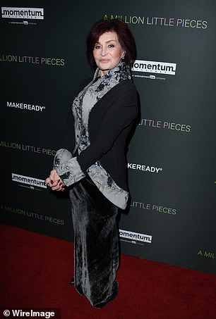 Osbourne (pictured) says she first met him during a dinner, which he arrived to with a date. Pictured: Osbourne attends a screening of A Million Little Pieces at The London Hotel, December 2019