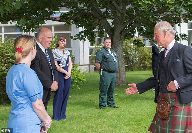 The Prince of Wales, known as The Duke of Rothesay while in Scotland, gave health workers a 'morale boost' during his Friday afternoon trip.