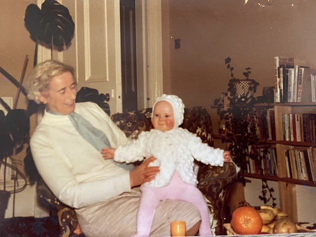 Adored: Jo Macfarlane as a baby, sitting on granny Olive's knee before her dementia set in.Olive suffered from Lewy body dementia, the second most common type after Alzheimer's